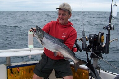 Capt. Ernie with an Oswego spring king
