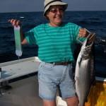 Carol Angel on an August 1, 2009, Lake Ontario salmon fishing charter.