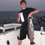 An early morning king that hit a Purple Passion flasher and glow green Fish Doctor Sushi Fly on August 13, 2009.